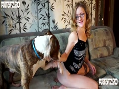 Lusful Babe blonde Fucking Lucky Dog