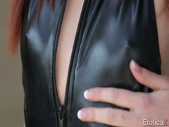 Sexy lady in black panites gives erotic
