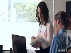 Horny secretary crazy fuck her boss in office rooom