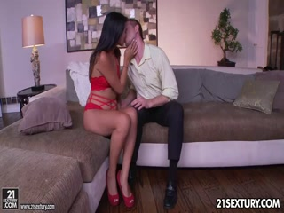 Angelina Chung in red panties gets nailed by white guys
