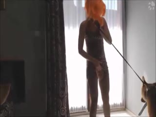 Horny slutty woman filling her pussy with dog's cock - Animal HD porn