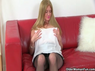 Older Blonde Milf Plays With Pussy In This Solo Action