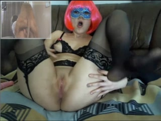 Horny girl masturbation with toy and fist