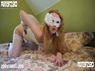 Blonde girl with mask fucks dog free