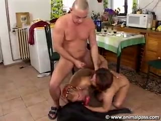 Horny lesbian and her husband sex group with dog