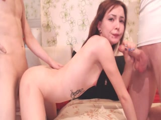 Flat chested Russian camwhore takes 2 cocks live at sexycamx.com